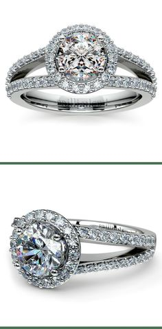 Fifty eight round cut diamonds are pave set in this white gold diamond engagement ring setting, accenting your choice of center diamond.