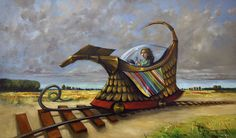 Andrzej Gudanski - The time Machine The Time Machine, Auction, Backyard, Canvas, Painting, Stretched Canvas, Beautiful Paintings, How To Paint, Artist