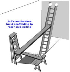 ladders and dimension lumber make scaffold to paint a high stairwell ceiling