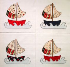 Sailboats Appliqued Quilt Blocks by zizzybob on Etsy, $16.00