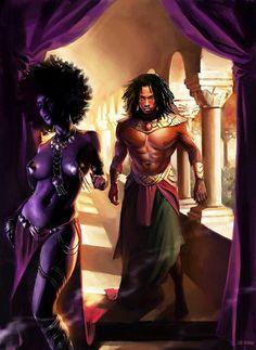 Black man and black woman art