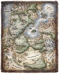 A map of the enchanted land of the Feywild.