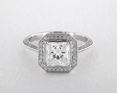 1.7ct Vintage Inspired Princess Engagement Ring White Gold