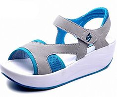 DADAWEN Womens Open Toe Platform Wedge Toning Sandal Blue US Size 55 >>> Read more reviews of the product by visiting the link on the image.(This is an Amazon affiliate link)