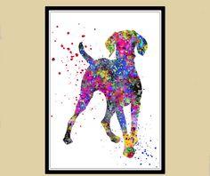 Vizsla Hungarian Vizsla dog watercolor Print by RosalisArt