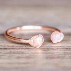 Rose Gold Little Raw Opal Ring