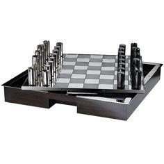 Hammond Chess Set - Walnut and Nickel from Ralph Lauren Home