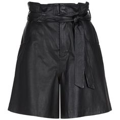SET Leather Bermuda Shorts (£319) ❤ liked on Polyvore featuring shorts, bottoms, leather shorts, ruched shorts, leather bermuda shorts, bermuda shorts and frilly shorts