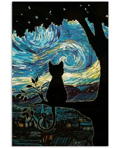 Starry Night Art, Starry Nights, Illustration Art, Illustrations, Black Cat Art, Cat Drawing, Vincent Van Gogh, Belle Photo, Crazy Cats