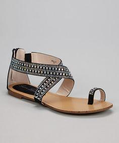 This Black Shimmer Embellished Willa Sandal by Lauren Lorraine is perfect! #zulilyfinds