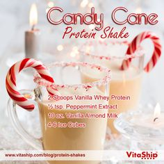 Candy Cane Protein Shake Recipe from USA Flag Co. The Legend of the Candy Cane Story : Try this delicious Candy Cane Protein Shake Recipe from USA Flag Co. to stay in shape this holiday season! Protein Smoothies, Protein Snacks, Pancakes Protein, Smoothie Drinks, Smoothie Recipes, Fruit Smoothies, Cleanse Recipes, Healthy Protein, Vanilla