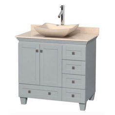 Wyndham Collection Acclaim 36 inch Single Bathroom Vanity in Oyster Gray, White Carrera Marble Countertop, Pyra Bone Porcelain Sink, and No Mirror, Beige