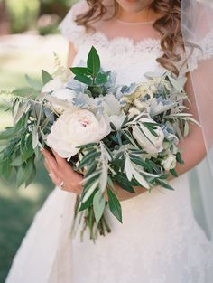 Soft grey, blue and sage green inspired real wedding by Laura Nelson