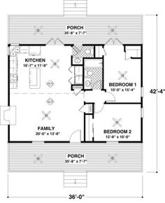 Cottage Style House Plan - 2 Beds 1.5 Baths 954 Sq/Ft Plan #56-547 Floor Plan…
