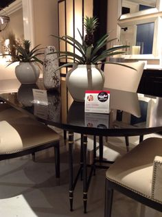 Spotted by @LoriGilder at E.J Victor. Fine dining never looked better than on this Morgan Metal Base Dining Table from Jack Fhillips. The refined overall design is scaled beautifully to fit in to any sophisticated home environment. #HPMKT #HPMKTSS Jack Fhillips: 116 S. Lindsay