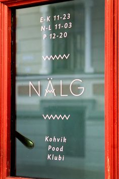 Nälg (Hunger) by Eiko Ojala, signage on shop window, window decals, branding, typography Graphic Design Typography, Graphic Design Illustration, Graphic Design Art, Branding Design, Lettering, Typography Letters, Type Design, Sign Design, Web Design