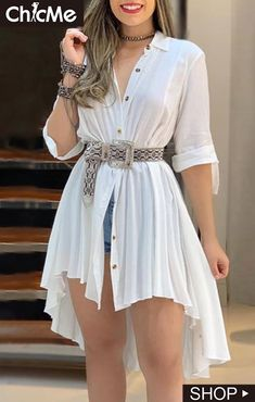 Turn-down Collar Dip Hip Pleated Shirt Dress fashion trends 2019 Blazers,fall fashion trends Winter Coats,fall fashion trends Vogue,fallfashion trends Ready To Trend Fashion, Fashion Mode, Look Fashion, Womens Fashion, Fall Fashion, Fashion Details, Fashion Brands, Fashion Online, Dress Outfits