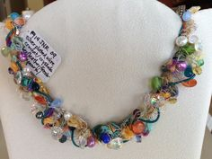 wire crochet necklace carnivale silk leather assorted gemstones and pearls