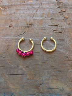 Pink Rhinestone Faux Septum Piercing Set, Gold Clip On Nose Ring