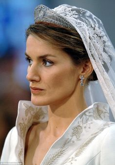 Queen Letizia of Spain wears the Prussian tiara for her wedding in 2004.Created in 1913, this diamond and platinum piece was created when Princess Victoria Louise of Prussia married Prince Ernst August of Hanover