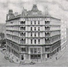 """The Hotel Metropole, which claimed in 1931 to be """"the largest and most modern Hotel in the Commonwealth (of Australia)"""" accommodating 525 guests. It stood on the corner of Bent, Phillip, and Young Streets """"the most impressive vantage point in Sydney. Lost Hotel, Old Buildings, Sydney Australia, Commonwealth, South Wales, Historical Photos, Hotels And Resorts, Continents, Genealogy"""