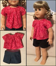 """Amy at DenimRose made this stylish casual outfit for American Girl® dolls using the shorts and top patterns from Lee & Pearl Pattern #1033: Bonjour, Paris Mini Wardrobe for 18"""" Dolls. This pattern is our 2015 FREE thank you gift to Lee & Pearl mailing list subscribers. Sign up at www.leeandpearl.com to get your own FREE copy!"""