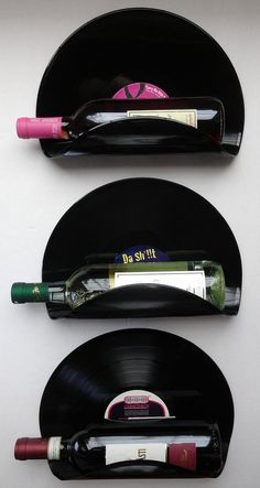 DJ Upcycled Vinyl Record Wine Rack Wall Organizer - Set of 3