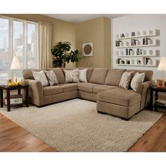 The transitional styling of the Simmons Upholstery Pacific Sectional Sofa makes a bold and comfy statement in any family room. Lane Furniture, Furniture Deals, Living Room Furniture, Living Room Decor Tan Couch, Mocha Living Room, Tan Sectional, Living Room Sectional, Tan Couches, Small Living Rooms