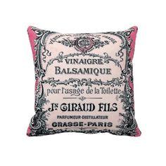 Vintage French Perfume Decorative Pillow