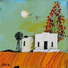Artwork of Glendine exhibited at Robertson Art Gallery. Original art of more than 60 top South African Artists - Since Illustrations, Illustration Art, South African Art, Cool Art, Fun Art, Acrylic Artwork, African Artists, Landscape Artwork, Naive Art