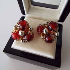 Vintage 1960's Red Lucite & Gold Tone Clip On Earrings Clips by VintageBlackCatz on Etsy