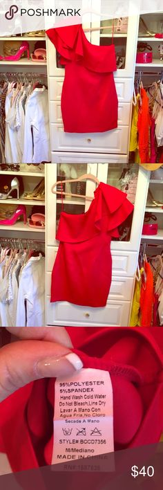 Windsor dress Gorgeous red one shoulder Windsor dress. See measurements as the size tag was removed if I remember correctly it was a size large. Thick quality material similar to asos club L brand. Classy and subtly sexy. Where did this with your favorite red pumps are open till gold sandals. You're sure to turn heads in this beautiful dress Windsor Dresses One Shoulder