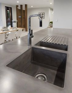 Concrete kitchen sink with drain board