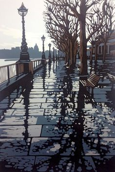 A reduction linocut of a rainy day on the Southbank, London. I loved the mix of city and nature in this scene. A reduction print is a relief print formed with layers of colour that are cut and . Linocut Prints, Art Prints, Block Prints, Gravure Photo, Linoprint, London Art, Wood Engraving, Woodblock Print, Landscape Art
