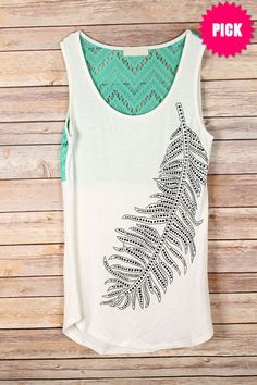 The Texas Cowgirl - Black Stone Feather Tank with Mint Crochet Back, (http://www.thetexascowgirl.com/black-stone-feather-tank-with-mint-crochet-back/)