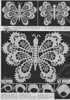 Ivelise Feito à Mão: Crochê Irlandês:Lindas Borboletas!!!! Irish crochet butterflies, graphed