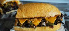 Portobello Philly Cheesesteak Sandwich (add fresh garlic & 2-3T balsamic vin to marinade) / use connoseurusveg chz sauce