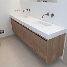 Taps extend from wall leaving worktop clutter free and easier to clean Wood Bathroom, Bathroom Toilets, Bathroom Renos, Bathroom Furniture, Bathroom Interior, Small Bathroom, Master Bathroom, Wood Furniture, Bad Inspiration