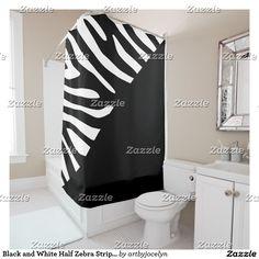 Black and White Half Zebra Stripe Pattern Shower Curtain
