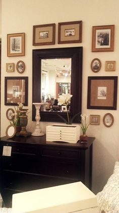 Love this wall - mirror, frames