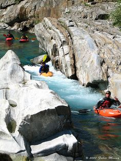 Kayaking, Val Verzasca, Switzerland. Photo:  fabbiomenna, via Flickr