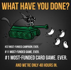 Exploding Kittens is an upcoming card game featuring illustrations by Oatmeal founder Matt Inman that was successfully crowdfunded through a record-breaking Kickstarter campaign in January Exploding Kittens, What Have You Done, Know Your Meme, Card Games, Cartoon, Learning, Memes, Funny, Outlines