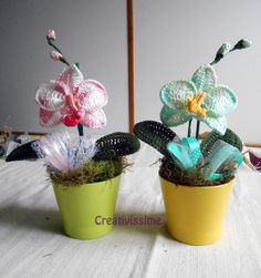 Orchidea Pianta all'uncinetto fatto a mano, by CREATIVISSIME, 20,00 € su misshobby.com