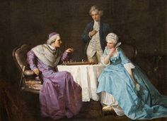 Playing Chess by German Painter August Hermann Knoop 1856-1900