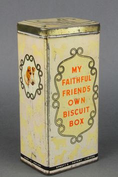 "Lot 203, A Spratt's dog biscuit tin marked ""My faithful friends own biscuit box"" decorated an Airedale Terrier and a Spaniel, Est £50-75"