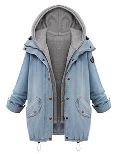 Blue Zipper Denim Coat with Detachable Hooded Waistcoat