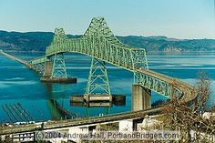 Astoria Megler Bridge connects Oregon to Washington State at the mouth of the Columbia River
