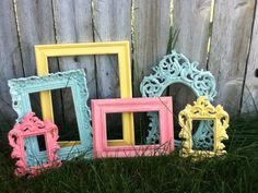 Distressed PICTURE FRAMES - Vintage Style - Coral Seafoam Yellow - Shabby Chic Wedding or Nursery - w/ Glass N Backing on Etsy, $79.45