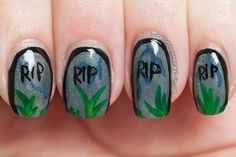 Illamasqua Zoya Savvy halloween nails manicure gravestones graveyard