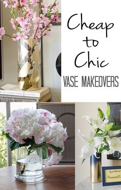 Dollar store vase makeovers are an inexpensive way to add chic trends to your home. I love all three of these super simple tutorials. Diy Home Decor Projects, Decor Crafts, Diy And Crafts, Decor Ideas, Diy Ideas, Vase Ideas, Decor Diy, Home Decoration, Tree Crafts